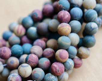 6mm Frosted Picasso Jasper beads, full strand, natural stone beads, round, 60070