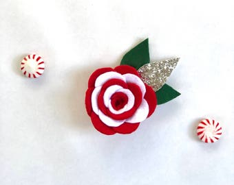 Peppermint Patty Holiday Flower, holiday flower clip, peppermint headband, red, white, green, striped, christmas clip