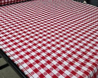 """Tablecloth Checkered Red w/ Hearts/Clovers Fabric 62""""W Premium Soft Made In USA"""