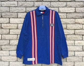 rare!!! TOMMY HILFIGER polo shirt spell out stripes design... tommy jeans hilfiger small logo...  colour block.. vintage polo shirt.. size M
