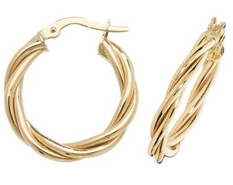 9ct Yellow Gold Twisted Rope Design Hoop Earrings 15mm 20mm 30mm