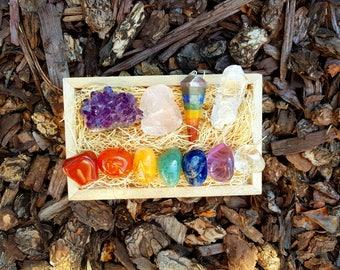 Chakra Set Tumble Stones + Healing Crystals Perfect Gift, Amethyst Cluster, Rose Quartz, Meditation, Reiki, Yoga, Energy Healing, Gemstone