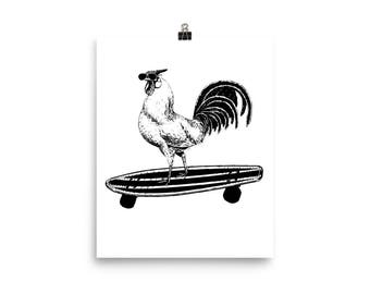 Rooster on a Skateboard Wall Art