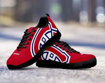 Montreal Canadiens Fan Custom Running Black Shoes/Sneakers/Trainers - Ladies + Mens Sizes