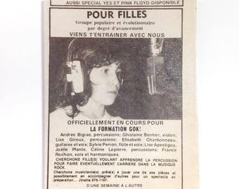 Unique OOAK Fridge Magnet / Vintage Québec 1980's Teenage Life / Conversation Piece / Retro Decor / Gift under 10.