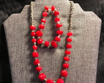 Red Coral and sterling silver necklace and bracelet.