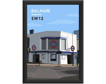 Balham Underground Station SW12 - Giclée Art Print - South London Poster