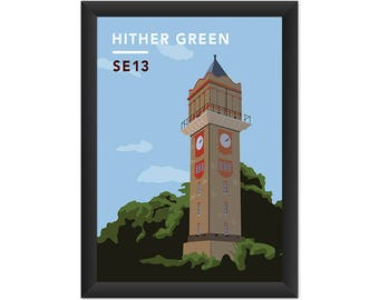 Hither Green Water Tower SE13 - Giclée Art Print - South London Poster