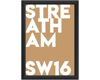 Streatham Typography SW16 - Giclée Art Print - South London Poster