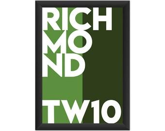 Richmond Typography TW10 - Giclée Art Print - South London Poster
