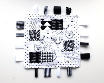 Monochrome Baby Taggy Blanket, Ribbon Blanket, Teething Toy, Ribbon Taggy Toy, Taggy Teether, monochrome, black and white