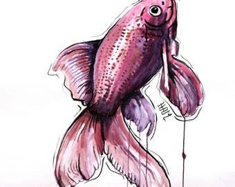 Unique red-ink on Canson artwork fish