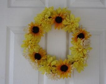 "12"" Sunflower & Yellow Flower Wreath"
