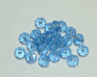 15 beads 6mm Crystal faceted sky blue
