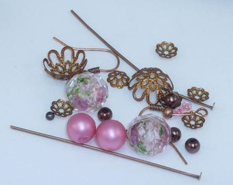"""Kit """"old rose"""" copper colored metal beads"""