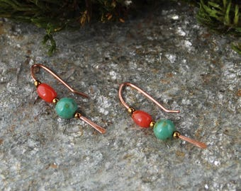 Copper Wire, Orange Agate and Green Chalcedony stone Threader earrings Gifts for her/Bride/Birthday/Christmas/Engagement/Anniversary