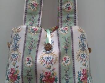 Handbag shopping bag green cream stripe floral button detail floral lining quirky hippy boho festival