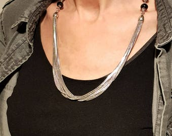 Necklace mid-length multi serpentine steel chain, lobster clasp and faceted onyx rondelles