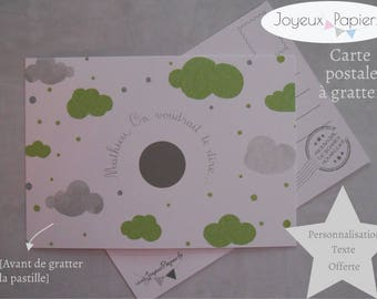 Scratch sex baby announcement card: it's a boy! Green cloud pattern