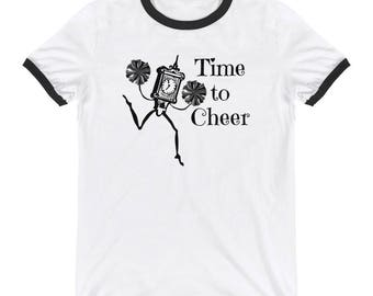 Cheerleader time to cheer clock with pom poms Ringer T-Shirt