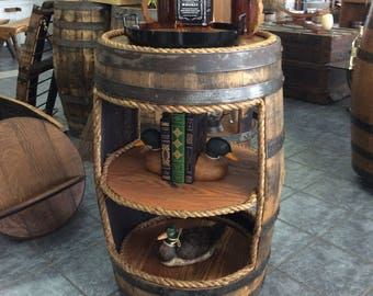 Whiskey Barrel Open Bookcase/Two Top Table