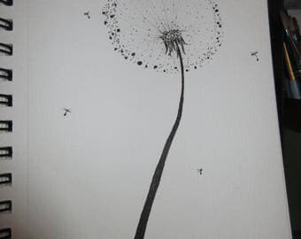 Dandelion pen and ink (set of 3)