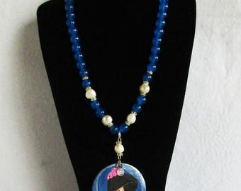 Necklace with wooden medallion