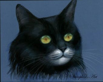 Black Cat Original Pastel Painting