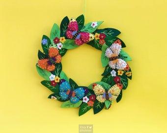 "10"" hand stitched ester butterflies wreath felted butterfly felt decoration / felt ornament / easter primitive decor"