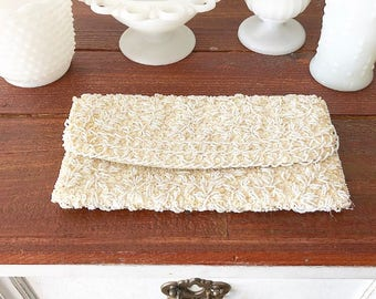 Vintage Off White Beaded Clutch