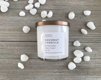 COCONUT + VANILLA soy wax candle soy candle AromaVela Candle Co