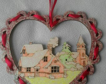 Christmas decoration for the door, depicting a winter landscape with snow