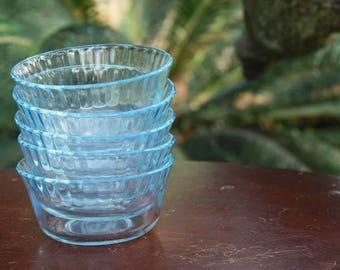 Vintage Colorex Blue Glass Dessert Bowls