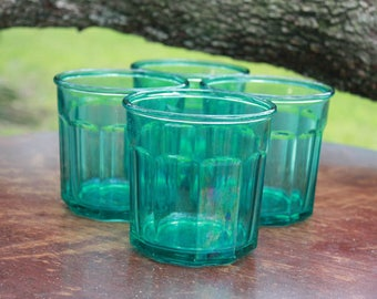 Vintage Luminarc Lowball Teal Green Tumblers Working Glasses Panel Drinkware Made in France 500