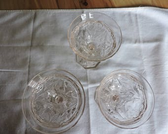 Rock Crystal Stemware, 3 Rock Crystal Wine Glasses, Antique Stemware, 3 McKee Glass Rock Crystal Wine Glasses, Antique Pressed Glass Stems