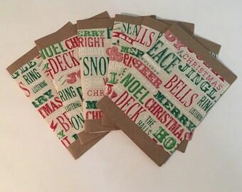 set of six handmadefabric christmas cards