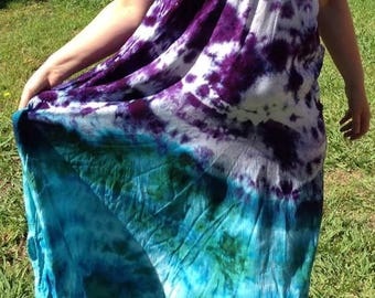 Purple green blue maxi dress xl