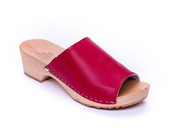 Leather clogs Red sandals Sandals Wooden clogs swedish clogs Handmade clogs sandal Gift for women mules wood clog wood summer shoes open toe