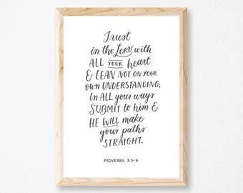 PROVERBS 3:5-6 - Calligraphy / Lettered Print