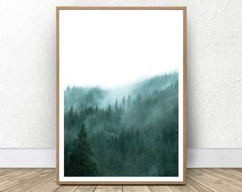 Large Green Forest, Green Woodland, Forest Home Decor, Scandinavian Forest, Wall Art Bedroom, Pine Forest, Woodland Forest, Wilderness Print