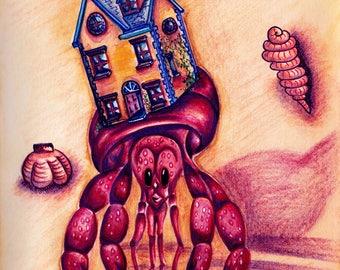 Hermit Crab Print in Watercolour