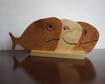 Wooden fish coaster family