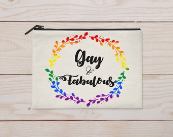 Gay and Fabulous Zippered Pouch/Cosmetic Bag