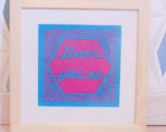 """""""Never give up"""" Kirigami. Coaster 23 x 23 cm frame. Papercutting"""