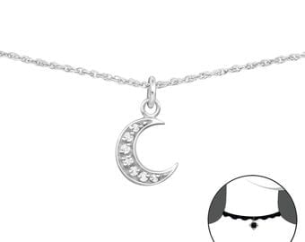 Silver Moon Choker With Cubic Zirconias