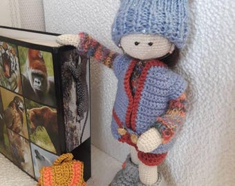 Crochet doll with  accessories Crochet doll with wire frame  Gift for her Unique gift Amigurumi doll Handmade Doll Gift