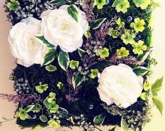 Floral Wall Art/ Moss Wall/ Green and White Flowers/