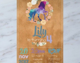 Personalised  UNICORN Birthday Party Invitation DIGITAL You Print