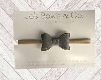 Baby Headband Bows - Baby Girl headband - hair bows - Baby Bows - hair bows for babies- baby hair bows-Leather hair bows