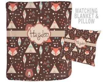 WOODLAND Monogram Blanket, Personalized Blanket, Baby Boy Name Blanket, Tribal Boy Shower Gift, Swaddle Blanket Pillow Set-Baby Pillow